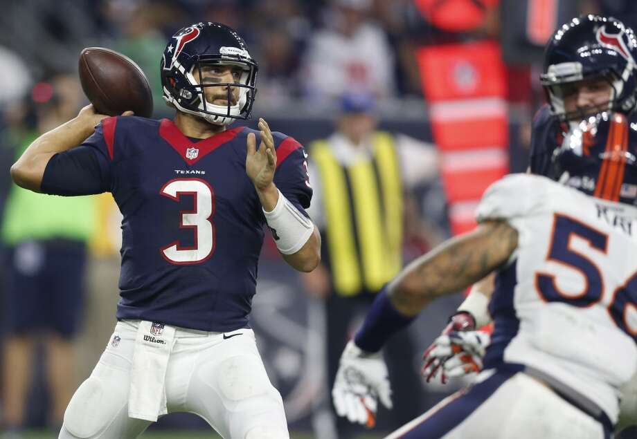 Texans third-string quarterback Tom Savage (3) showed some promise Saturday against the Broncos, unlike the two men above him on the depth chart. ( Karen Warren / Houston Chronicle ) Photo: Houston Chronicle