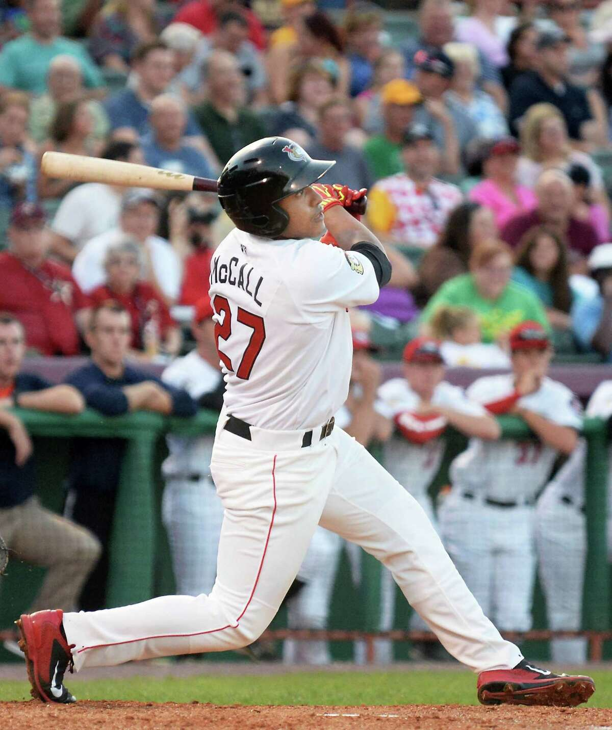 Tri-City ValleyCats' Dexture McCall's triples during Saturday's game against the Hudson Valley Renegades at Joe Bruno Stadium August 22, 2015 in Troy, NY. (John Carl D'Annibale / Times Union)