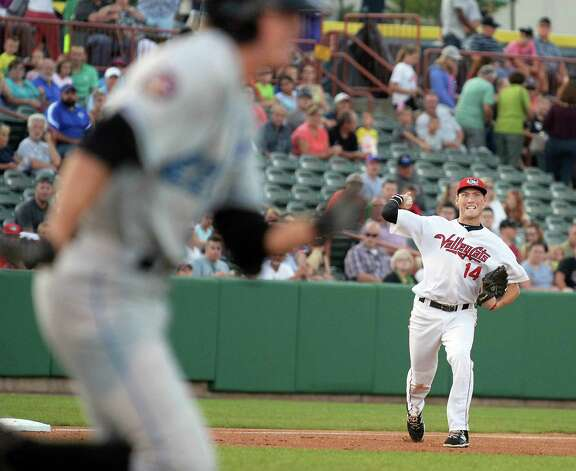 Tri-City ValleyCats'  third baseman Bobby Wernes, right, throws out Hudson Valley Renegades' Michael Russell during Saturday's game at Joe Bruno Stadium August 22, 2015 in Troy, NY.  (John Carl D'Annibale / Times Union) Photo: John Carl D'Annibale / 00033060A