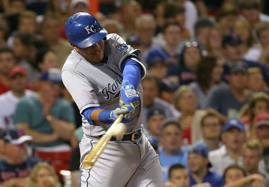 BOSTON, MA - AUGUST 22: Salvador Perez #13 of the Kansas City Royals connects for a three run home run in the sixth inning against the Boston Red Sox at Fenway Park on August 22, 2015 in Boston, Massachusetts.  (Photo by Jim Rogash/Getty Images) ORG XMIT: 538591419 Photo: Jim Rogash / 2015 Getty Images