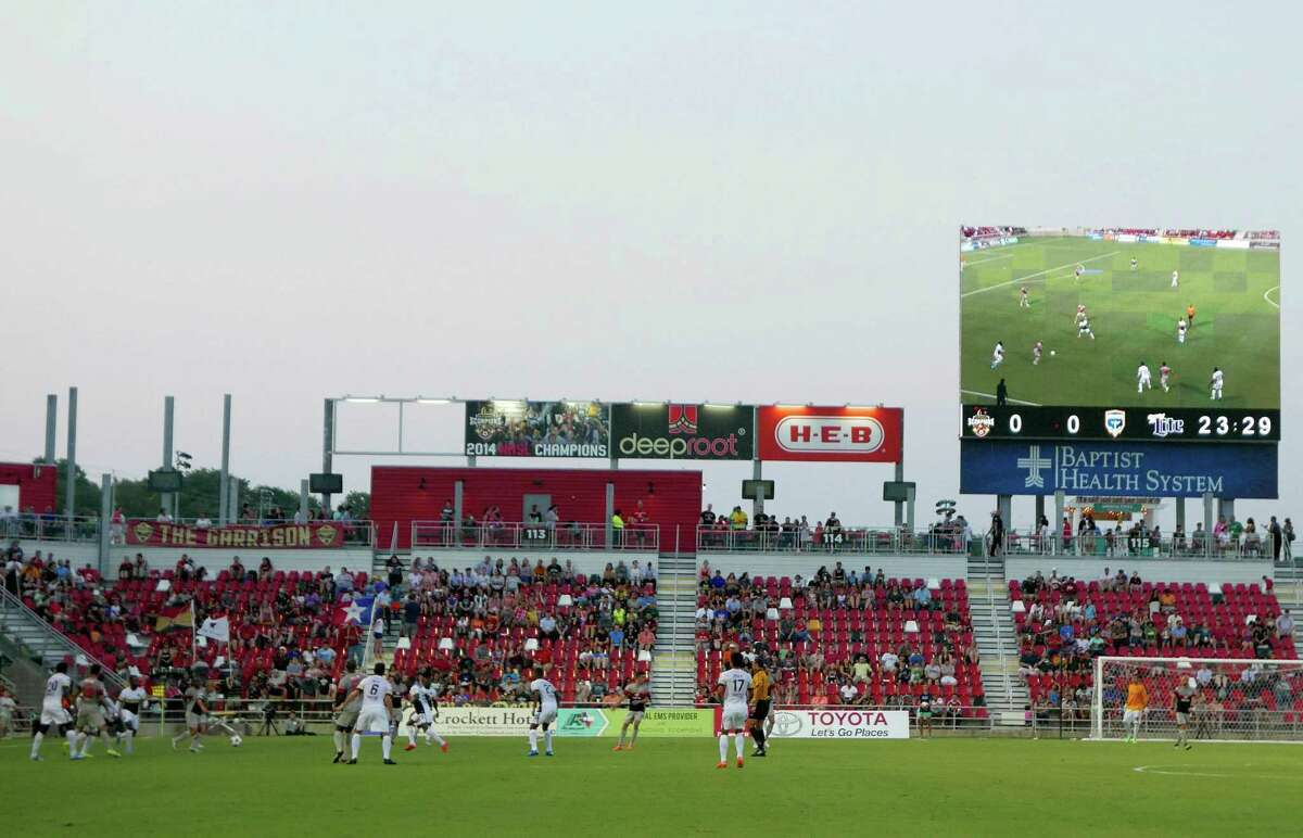 The San Antonio Scorpions take on the Jacksonville Armada in a NASL soccer match at Toyota Field on Aug. 22, 2015.
