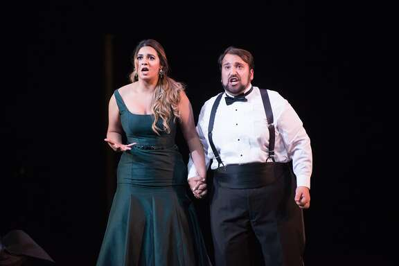 Amina Edris (Juliette) and Christopher Bozeka (Roméo) in a scene from Roméo et Juliette by Gounod. Merola Grand Finale, 8/22/15