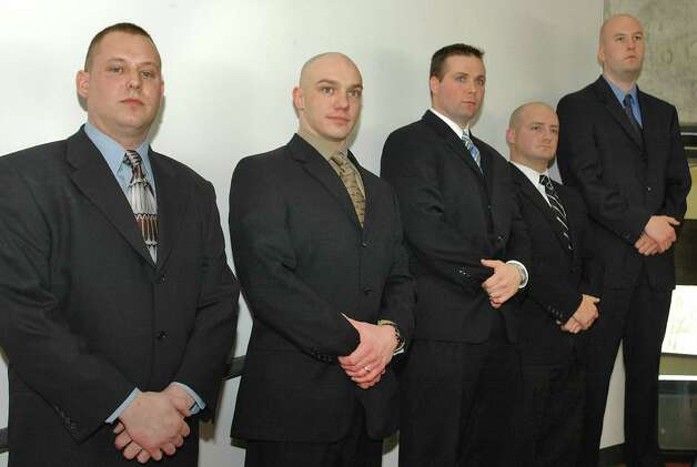 Times Union staff photo by Lori Van Buren      The city of Troy swore in five new officers on Tuesday, Janurary 17, 2006. The new officers are from left, Chad Klein, Robert Gaudette, Donald Marble, Joseph McNall and Shane Kiley. Photo: LORI VAN BUREN / ALBANY TIMES UNION