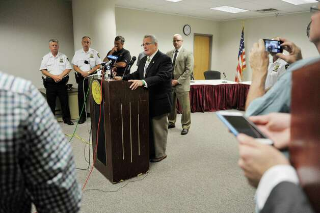 Troy Mayor Lou Rosamilia addresses the media at Troy City Hall on Sunday, Aug. 23, 2015, in Troy, N.Y. about the shooting of two police officers the night before.    (Paul Buckowski / Times Union)