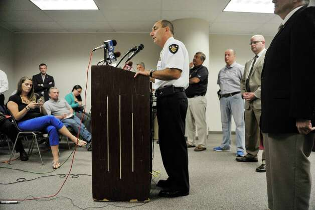 Troy Police Chief John Tedesco addresses the media at Troy City Hall on Sunday, Aug. 23, 2015, in Troy, N.Y. about the shooting of two officers the night before.    (Paul Buckowski / Times Union)