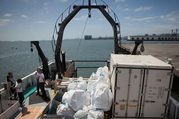 A sample of the garbage found in the Great Pacific Garbage Patch is stored on the Ocean Starr during the 30-day Mega Expedition.  Photographed on Sunday, Aug. 23, 2015 in San Francisco, Calif.