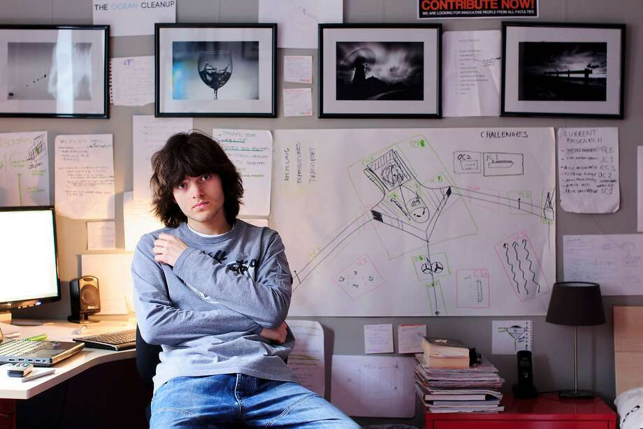 In this March 3rd, 2013, photo provided by The Ocean Cleanup shows its CEO and Founder Boyan Slat, a Dutch entepreneur and inventor working from his bedroom before The Ocean Cleanup had an office in Delft, The Netherlands. The Ocean Cleanup successfully concluded a Mega Expedition with the arrival of a first group of vessels including the fleet's 171ft mothership in the port of San Francisco Sunday, Aug. 23, 2015. (The Ocean Cleanup via AP) Photo: Associated Press