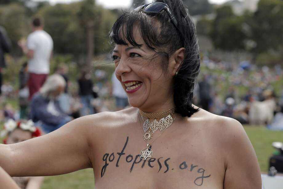 "2015: Norma Toral of Walnut Creek organized the topless day at Dolores Park in San Francisco, Calif., on Sunday, August 23, 2015. The demonstrations take place in various areas, with 2016 demonstrations planned for Union Square. The group GoTopless.org is organized Go Topless Day on the Sunday closest to Women's Equality Day, Aug 26. It is indeed on Aug 26, 1920 that women earned their right to vote on the basis of Gender Equality. In 1971, the US Congress has made Aug 26 into a nationally recognized date and named it ""Women's Equality Day."" Photo: Carlos Avila Gonzalez, The Chronicle"