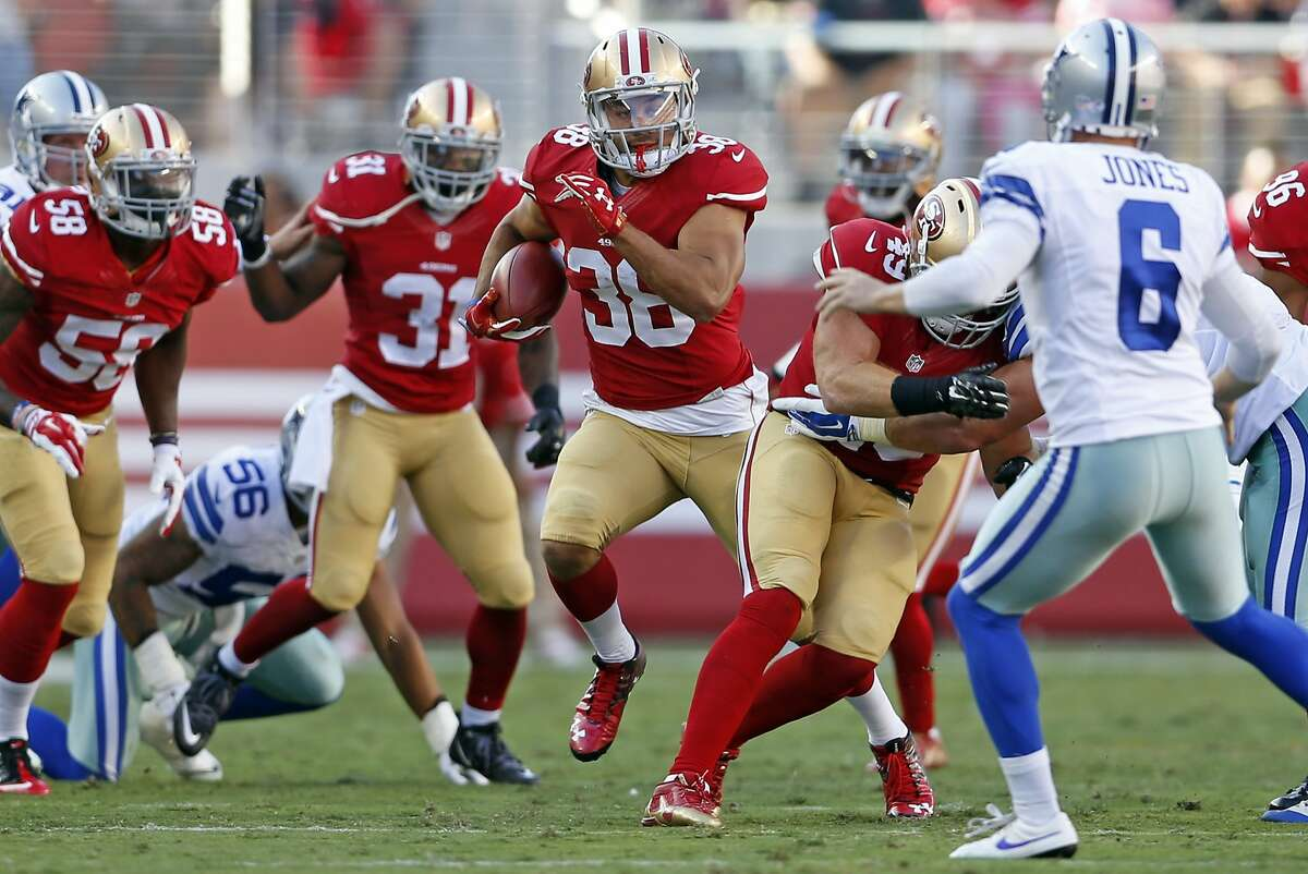 San Francisco 49ers' Jarryd Hayne returns a punt in 1st quarter against Dallas Cowboys during NFL preseason game at Levi's Stadium in Santa Clara, Calif., on Sunday, Aug. 23, 2015.