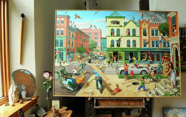 """One of Thom Breitenbach's Proverbidioms paintings """"Accidents Waiting To Happen"""" in his castle he's made out of local stone on Monday, Aug. 17, 2015 in Altamont, N.Y. The castle is now a wedding venue. He plans to leave the castle and his paintings as a museum when he dies. (Lori Van Buren / Times Union) Photo: Lori Van Buren / 00032981A"""