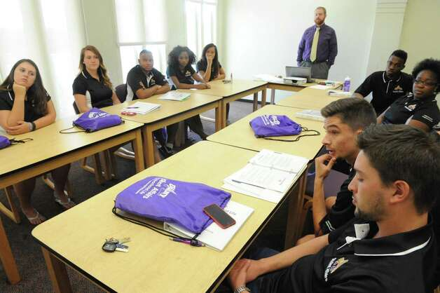 UAlbany's new off-campus student ambassadors talk about their community relation plans at the UAlbany Campus Center on Friday Aug. 21, 2015 in Albany, N.Y.  (Michael P. Farrell/Times Union) Photo: Michael P. Farrell / 00033049A