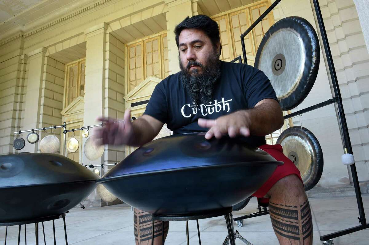 David Macejaka plays Hand Pans at the gong bath at the Roosevelt II Bath House at the Saratoga State Park Aug. 23, 2015 in Saratoga Springs, N.Y. (Skip Dickstein/Times Union)
