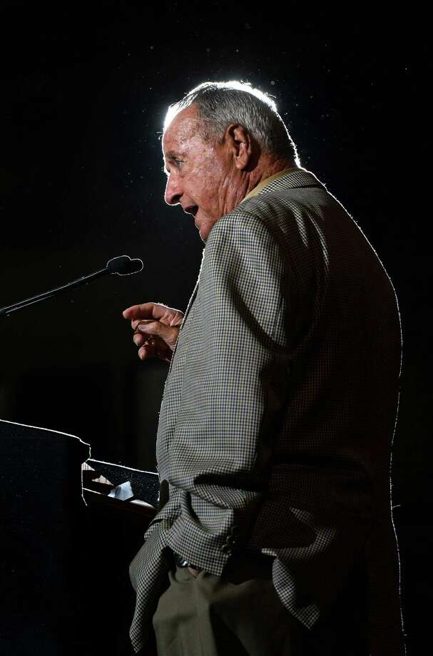 Former Florida State University head coach Bobby Bowden addresses guests during Lamar's football banquet at Ford Park Sunday night. Bowden entertained the audience with anecdotes about Texans, football and growing up in the Great Depression.  Photo taken Sunday, August 23, 2015  Guiseppe Barranco/The Enterprise Photo: Guiseppe Barranco, Photo Editor