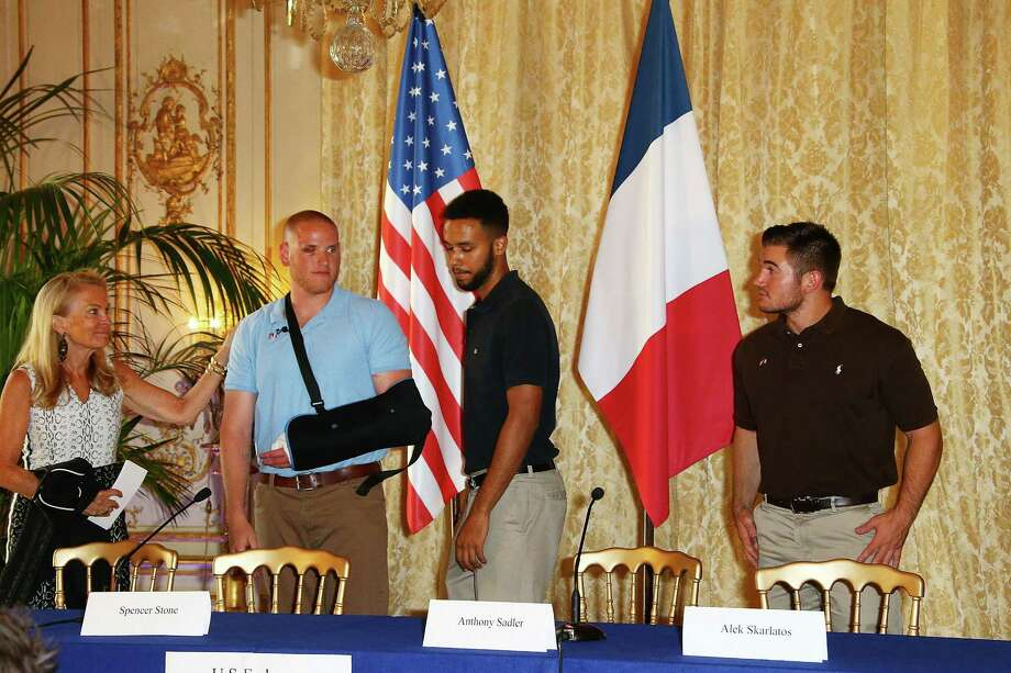 PARIS, FRANCE - AUGUST 23:  US Ambassador in France Jane Hartley, Spencer Stone, Anthony Sadler and Alek Skarlatos Give A Press Conference at US Ambassador Residence on August 23, 2015 in Paris, France. Spencer Stone, Anthony Sadler and Alek Skarlatos overpowered a gunman aboard a high-speed train after 25-year-old Moroccan, Ayoub El-Khazzani, opened fire on a Thalys train traveling from Amsterdam to Paris. El-Khazzani, who had a Kalashnikov, an automatic pistol and a box cutter, was arrested when the train stopped at the French town of Arras.  (Photo by Laurent Viteur/Getty Images) ORG XMIT: 572719487 Photo: Laurent Viteur / 2015 Getty Images