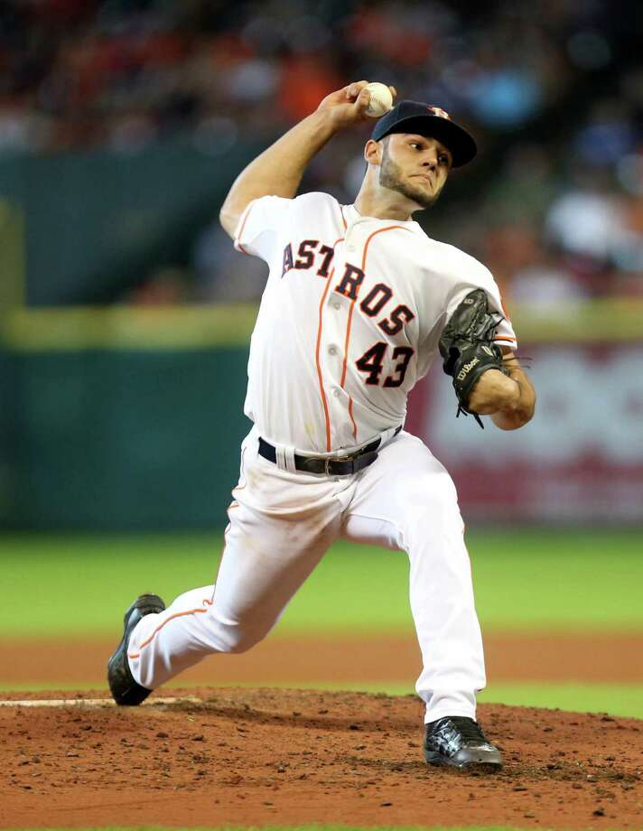 Astros rookie Lance McCullers showcased solid form Sunday afternoon, holding the Dodgers to two runs while striking out eight batters in seven innings. Photo: Gary Coronado, Staff / © 2015 Houston Chronicle