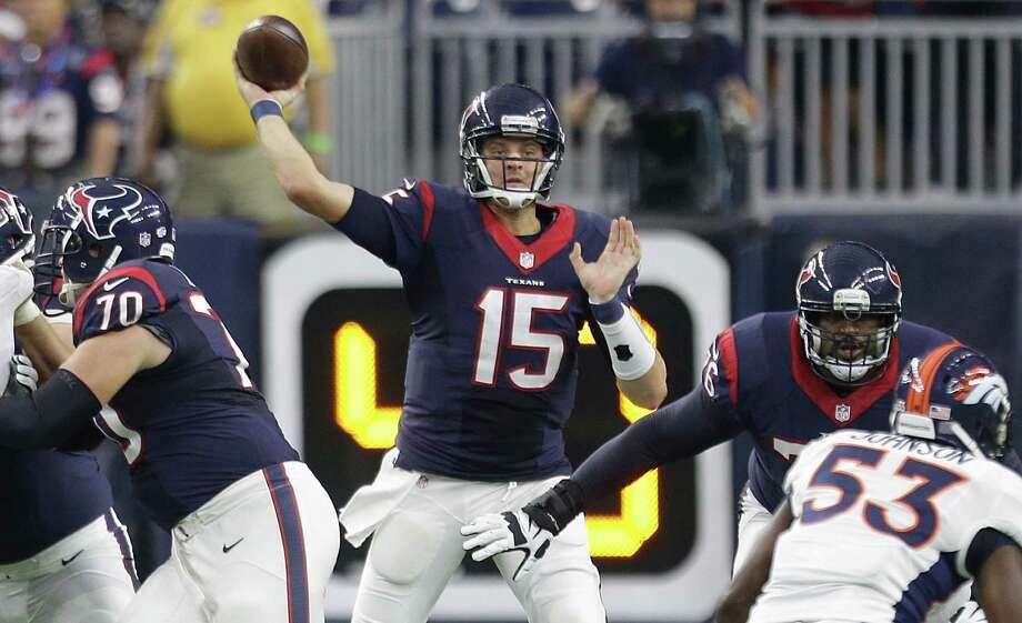 Houston Texans quarterback Ryan Mallett (throws a pass against the Denver Broncos during the first quarter of a preseason game at NRG Stadium on Aug. 22, 2015, in Houston. Photo: Brett Coomer /Houston Chronicle / Â 2015  Houston Chronicle