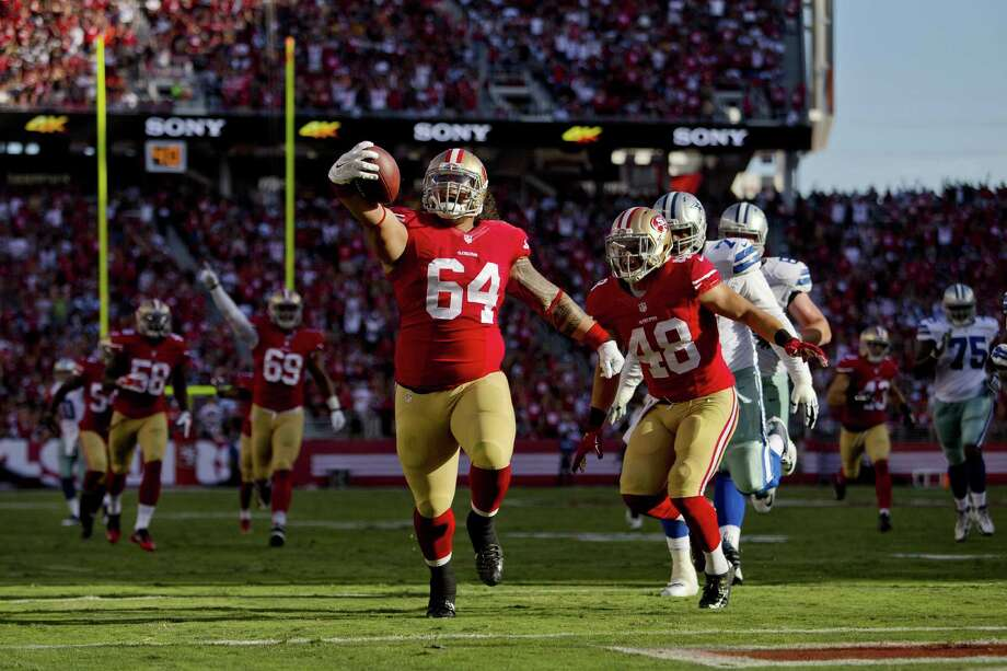 San Francisco nose tackle Mike Purcell (64) followed up a six-tackle preseason opener against the Texans with an interception returned for a touchdown against the Cowboys in a 23-6 win Sunday. Photo: Brian Bahr, Stringer / 2015 Getty Images