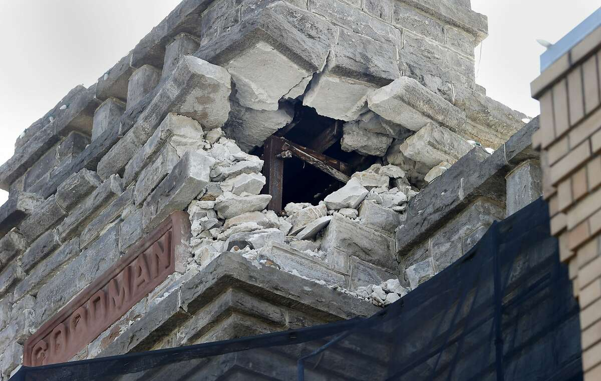The Goodman building which housed the Napa Historical Society still has evidence of the quake Monday August 24, 2015. The first anniversary of the 6.0 earthquake in Napa, Calif. saw evidence of the destruction, especially in the downtown area, although locals seemed pleased with the recovery.