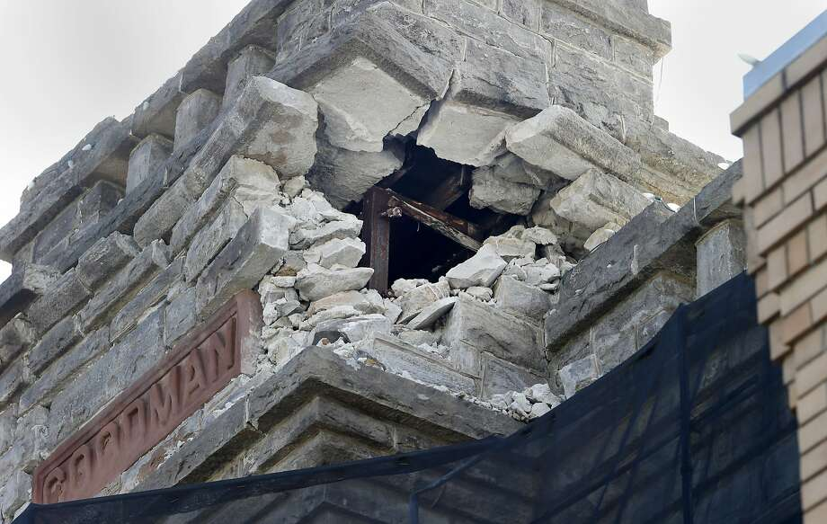 The Goodman building which housed the Napa Historical Society still has evidence of the quake Monday August 24, 2015. The first anniversary of the 6.0 earthquake in Napa, Calif. saw evidence of the destruction, especially in the downtown area, although locals seemed pleased with the recovery. Photo: Brant Ward, The Chronicle
