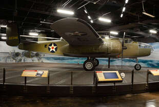 B-25   This B-25 bomber is showcased in our Doolittle Exhibit. The B-25 is the plane that was used in the first attack on mainland Japan.  For more information or to plan your trip today, visit   The National Museum of the Pacific War  or call 830-997-8600.