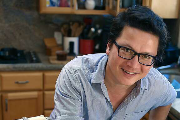 "Food writer J. Kenji Lopez-Alt focuses on the science behind cooking and is testing marinade times at home in San Mateo, Calif., on Friday, August 21, 2015.  He has a new cookbook, ""The Food Lab"", coming out in September."