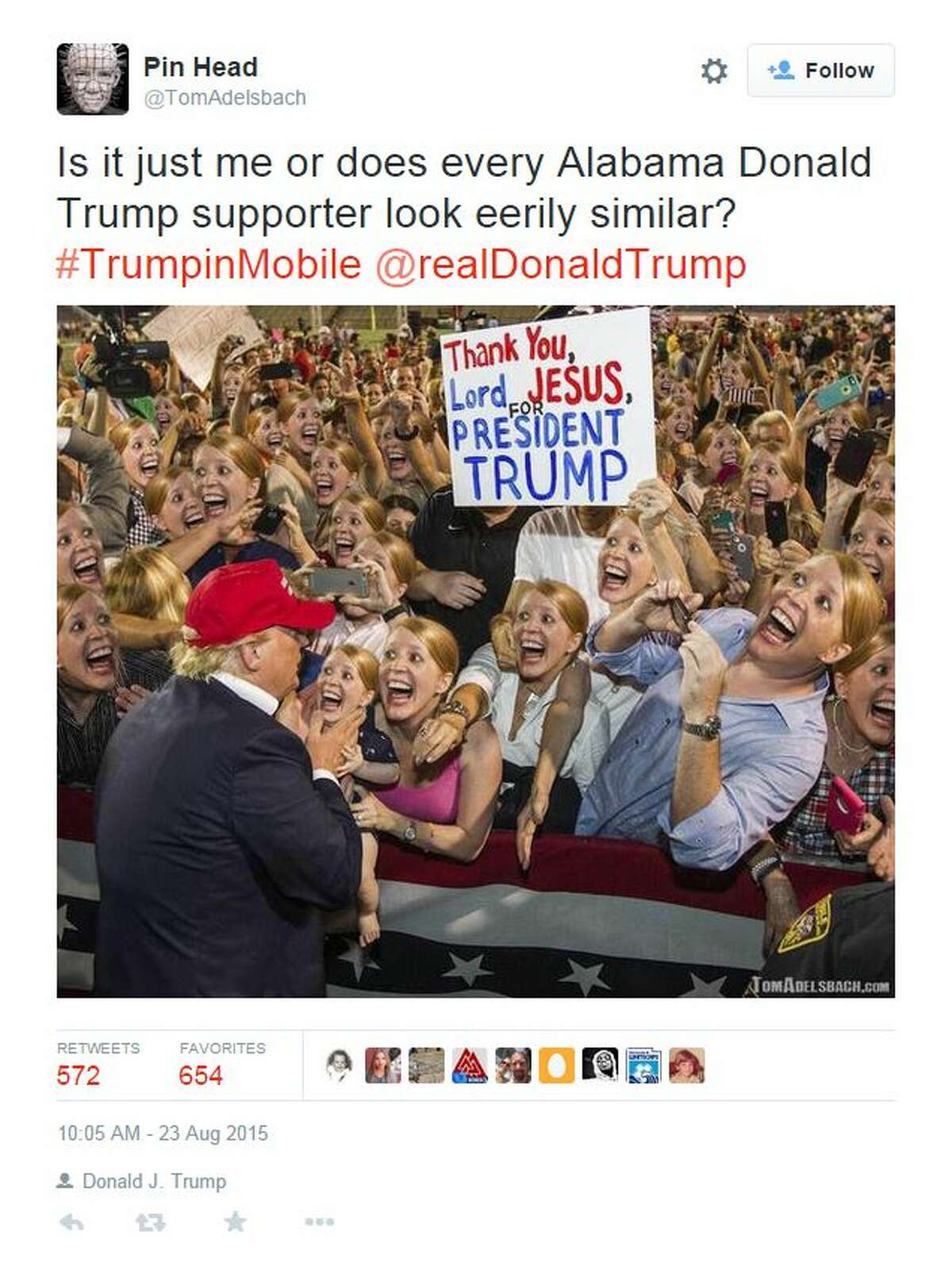 Is it just me or does every Alabama Donald Trump supporter look eerily similar? #TrumpinMobile @realDonaldTrump