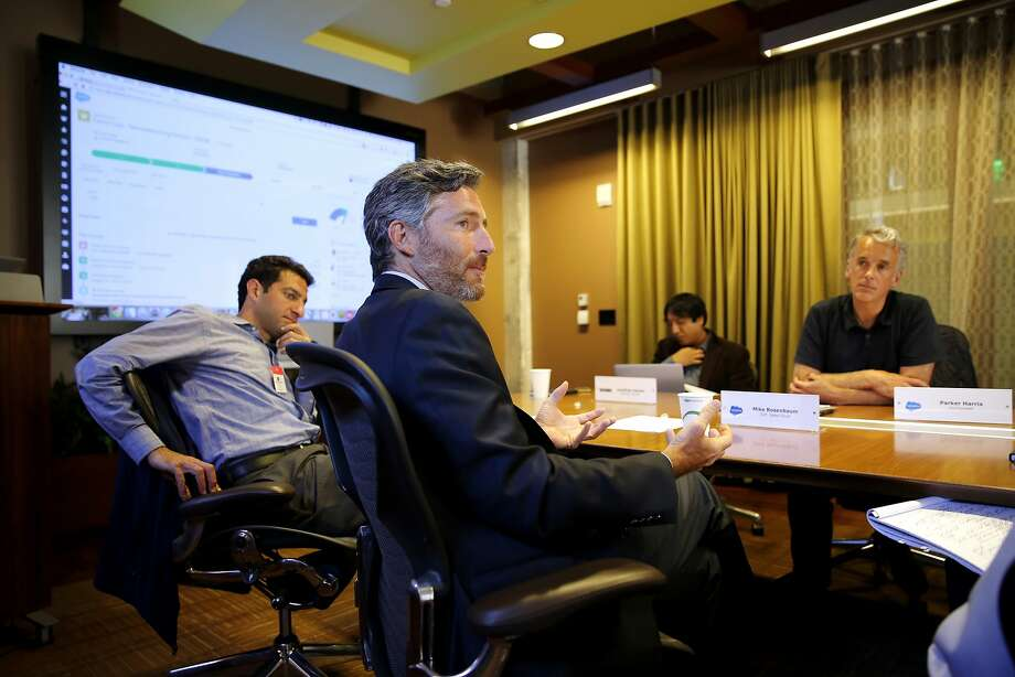 Mike Rosenbaum, executive vice president of Sales Cloud, speaks during a media preview of Salesforce's new Lightning Experience for Sales Cloud in San Francisco, California, on Monday, Aug. 24, 2015. The Lightning Experience integrates a new user interface with additional features to help streamline workflow for customers. Photo: Connor Radnovich, The Chronicle