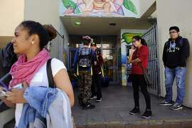 Students file out of the San Francisco International High School at the end of the school day, in San Francisco, CA Monday, August 24, 2015.