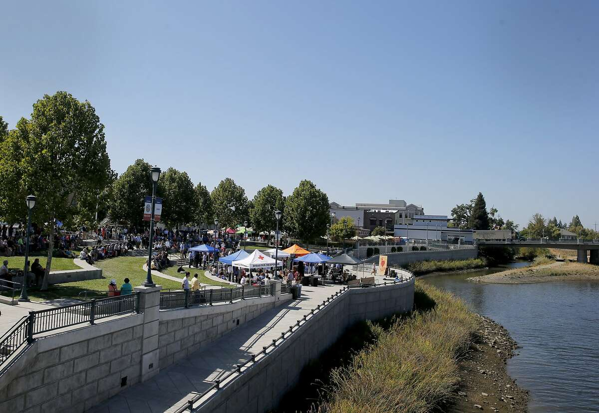 The Napa Strong gathering was held at the Veterans Park on the Napa River Monday August 24, 2015. The first anniversary of the 6.0 earthquake in Napa, Calif. saw evidence of the destruction, especially in the downtown area, although locals seemed pleased with the recovery.