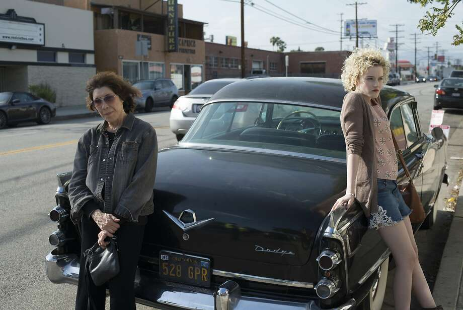 "Elle (Lily Tomlin), left, and her pregnant granddaughter Sage (Julia Garner) are broke and desperate for cash in ""Grandma.""  Courtesy of Sony Pictures Classics Photo: Courtesy Of Sony Pictures Classi"