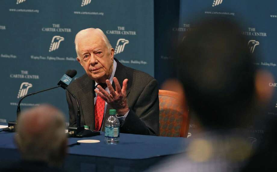 Former President Jimmy Carter discusses his cancer diagnosis at the Carter Center last week in Atlanta, Ga. The 90-year-old announced he had cancer after doctors removed small masses from his liver earlier this month. Photo: Bob Andres /McClatchy-Tribune News Service / Atlanta Journal-Constitution