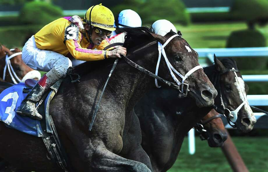 Jess's Dream, the offspring of two champions, Curlin the sire and Rachel Alexandra the dam catches and passes the field of the sixth race on the card and won Monday Aug. 24, 2015 at the Saratoga Race Course  in Saratoga Springs, N.Y.      (Skip Dickstein/Times Union) Photo: SKIP DICKSTEIN