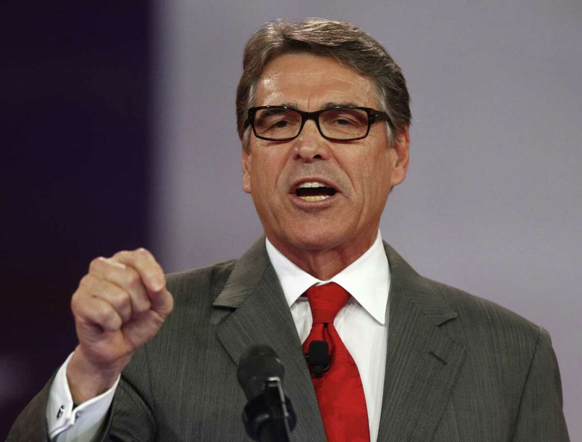 Republican presidential candidate, former Texas Gov. Rick Perry speaks at the Defending the American Dream summit hosted by Americans for Prosperity at the Greater Columbus Convention Center in Columbus, Ohio, Saturday, Aug. 22, 2015. (AP Photo/Paul Vernon)