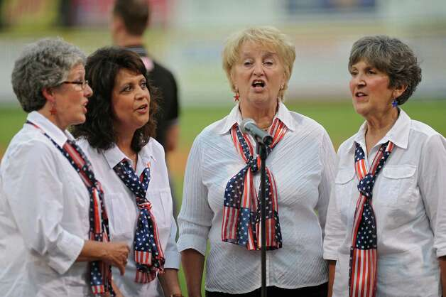 The singing group Intuition performs the national anthem before a Tri-City ValleyCats baseball game against the Connecticut Tigers at Joe Bruno Stadium on Monday, Aug. 24, 2015 in Troy, N.Y. (Lori Van Buren / Times Union) Photo: Lori Van Buren / 00033090A