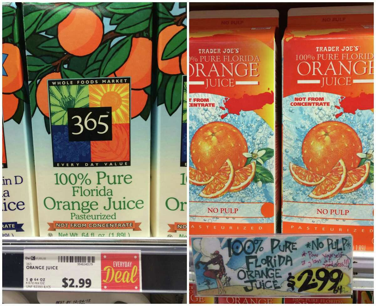 Orange juice: A carton of 100% Florida goes for $2.99 at both Whole Foods and Trader Joe's.