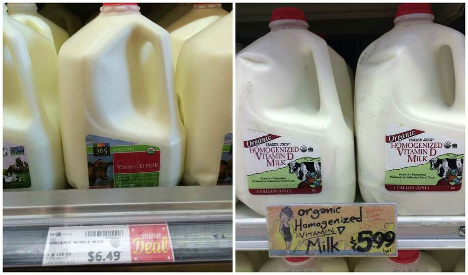 Milk: Organic whole milk sells for $6.49 at Whole Foods and $5.99 at Trader Joe's.  Photo: Amy Graff
