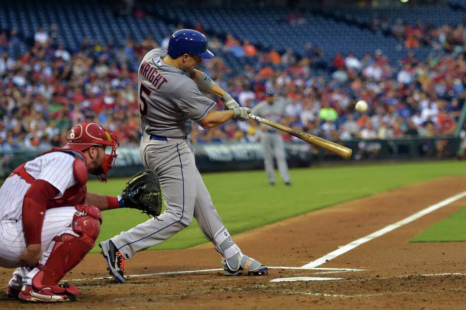 PHILADELPHIA, PA - AUGUST 24: David Wright #5 of the New York Mets hits his first home run in the second inning against the Philadelphia Phillies at Citizens Bank Park on August 24, 2015 in Philadelphia, Pennsylvania. (Photo by Drew Hallowell/Getty Images) ORG XMIT: 538591963 Photo: Drew Hallowell / 2015 Getty Images