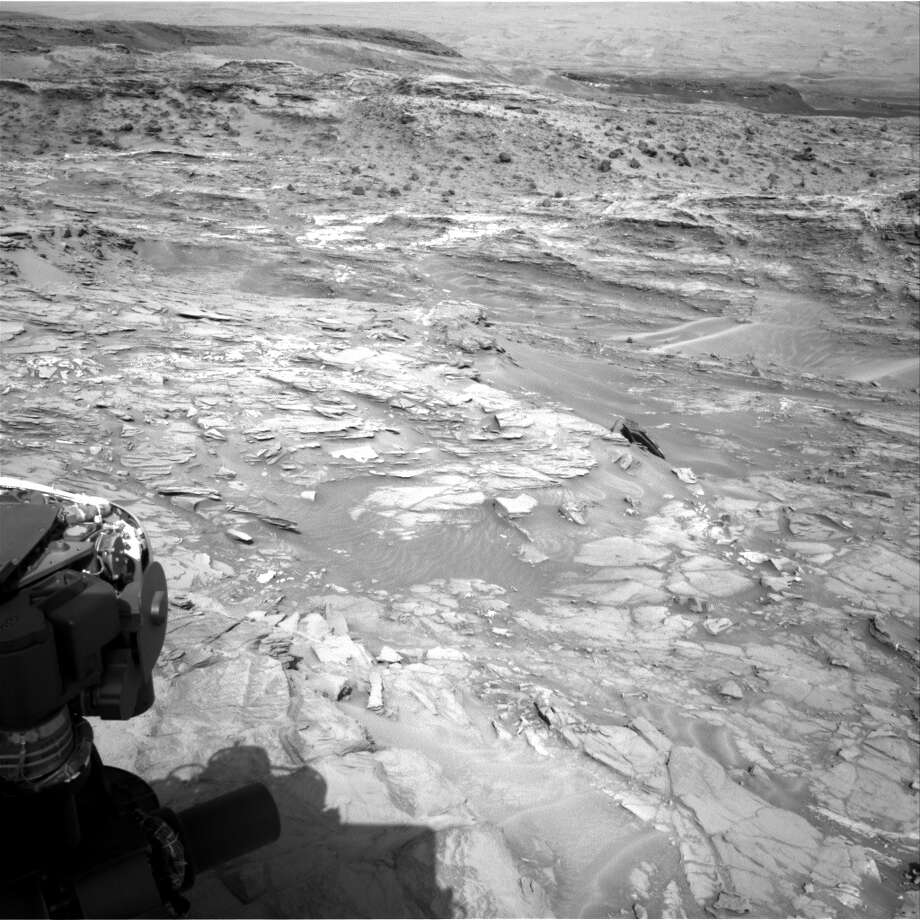 This strange black object near the center was seen in a photo sent back by the Mars rover Curiosity, Aug. 24, 2015. (NASA)