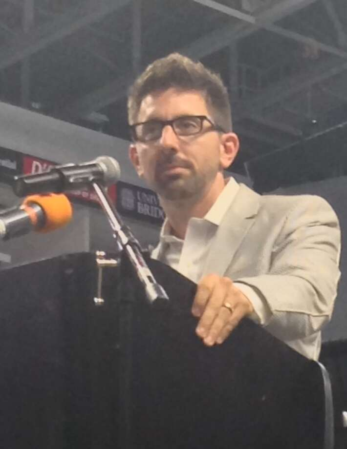 Marc Brackett from the Yale Center for Emotional Intelligence last year speaking at Bridgeport Public School convocation. This year he will speak to Trumbull teachers. Photo: Linda C Lambeck / Linda C Lambeck / Connecticut Post
