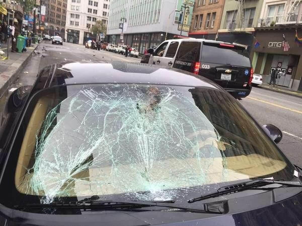 This Porsche hit and injured a pedestrian at Sixth Street and Stevenson streets in San Francisco. A 2017 study has identified the most dangerous intersections for pedestrians in the city. The worst 25 are listed in the following gallery.