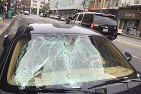 This Porsche hit and injured a pedestrian at Sixth Street and Stevenson streets in San Francisco. A new study has identified the most dangerous intersections for pedestrians in the city. The worst 25 are listed in the following gallery.