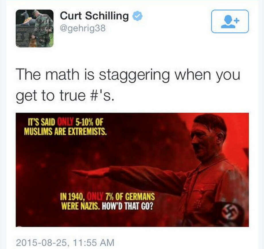 Curt Schilling posted this tweet Tuesday before deleting it shortly thereafter. He has since apologized to Twitter followers for posting it.