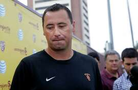Southern California NCAA college football coach Steve Sarkisian speaks to media before football practice, in Los Angeles, Tuesday, Aug. 25, 2015. Sarkisian publicly apologized for his drunken appearance at a team rally last weekend, attributing his slurred, profane speech to a combination of alcohol and medication.