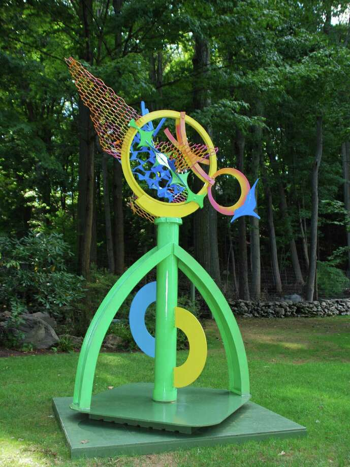 """Birdsong"" is a large painted welded steel sculpture by Carole Eisner, on view through October on the Silvermine Sculpture Walk. Photo: Contributed Photo"