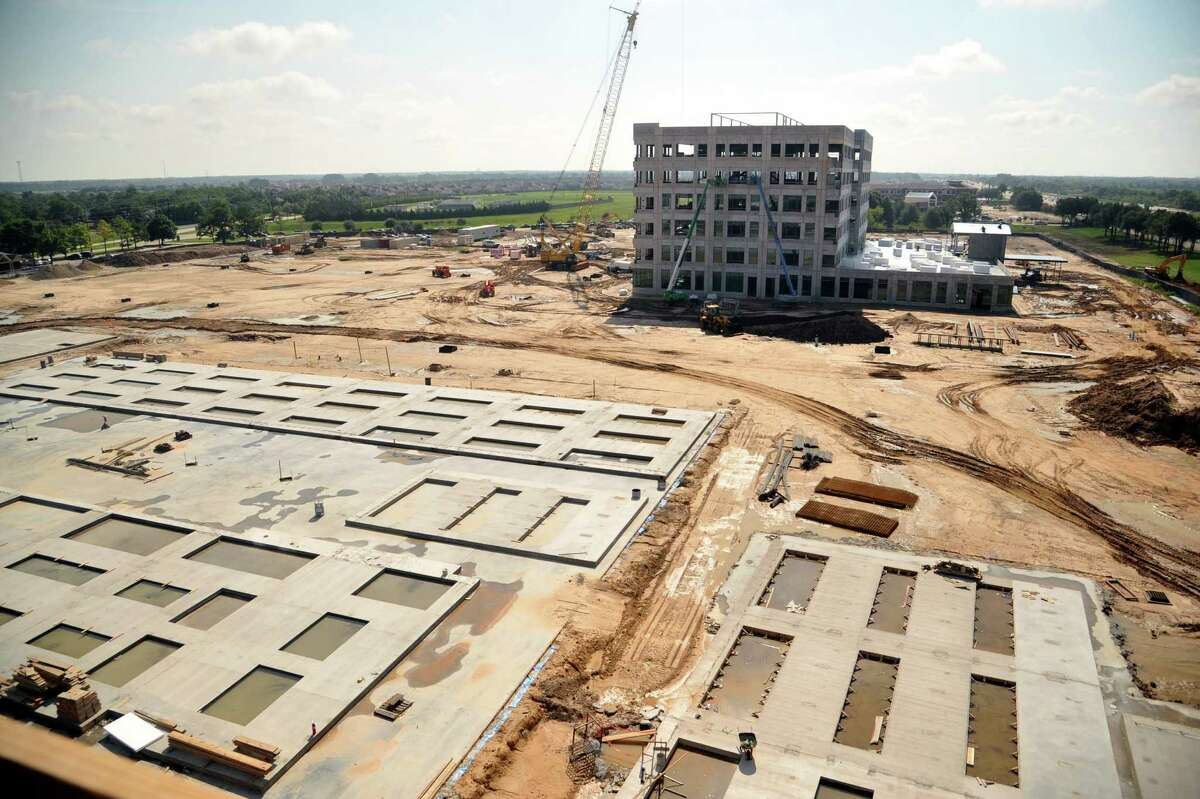 The Memorial Herman Hospital, Cypress, construction site is between the exits for Mueschke and Mason roads off U.S. 290 West. In the foreground is the foundation for the diagnostic and treatment tower and the medical plaza is in the background.