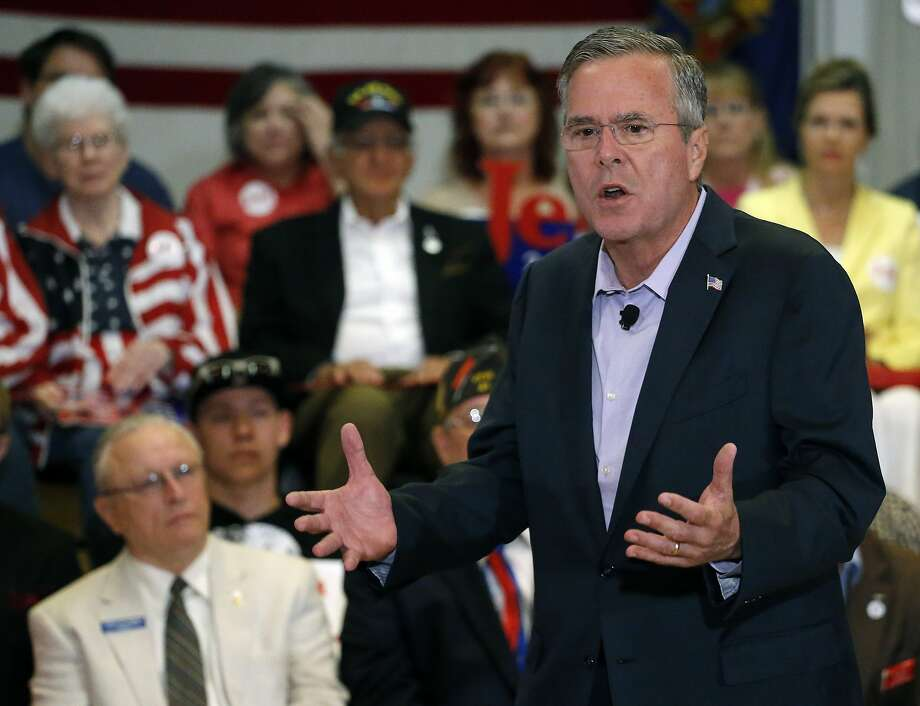 Former Florida Gov. Jeb Bush speaks to voters at a campaign appearance at a VFW hall in Englewood, Colo. Photo: Brennan Linsley, Associated Press