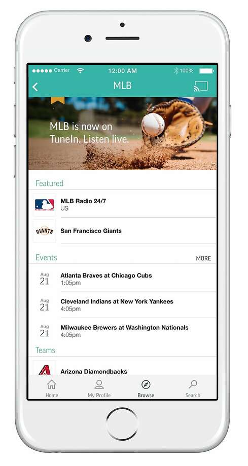 This undated photo provided by TuneIn shows a mobile photo with a TuneIn app interface. TuneIn, the app that gives users free access to thousands of live radio stations around the world, is launching an $8-a-month premium subscription service that throws in ad-free listening, audiobooks and live play-by-play coverage of Major League Baseball and soccer from the Premier League and the Bundesliga. The offer launches in the U.S. on Tuesday, Aug. 25, 2015, as well as in Canada.  (TuneIn via AP) Photo: Associated Press
