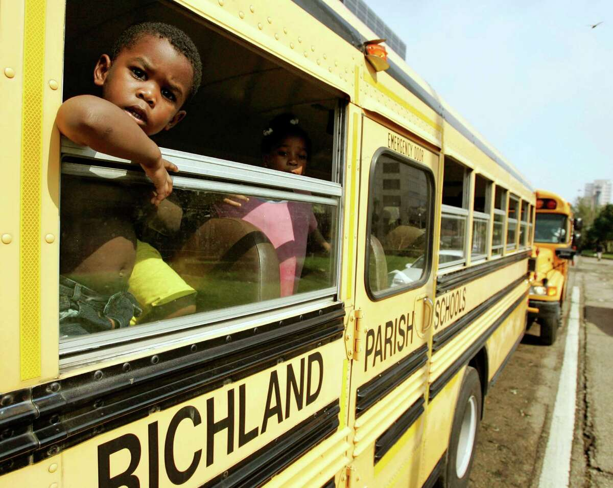 Busloads of Hurricane Katrina survivors were evacuated from New Orleans to Houston.