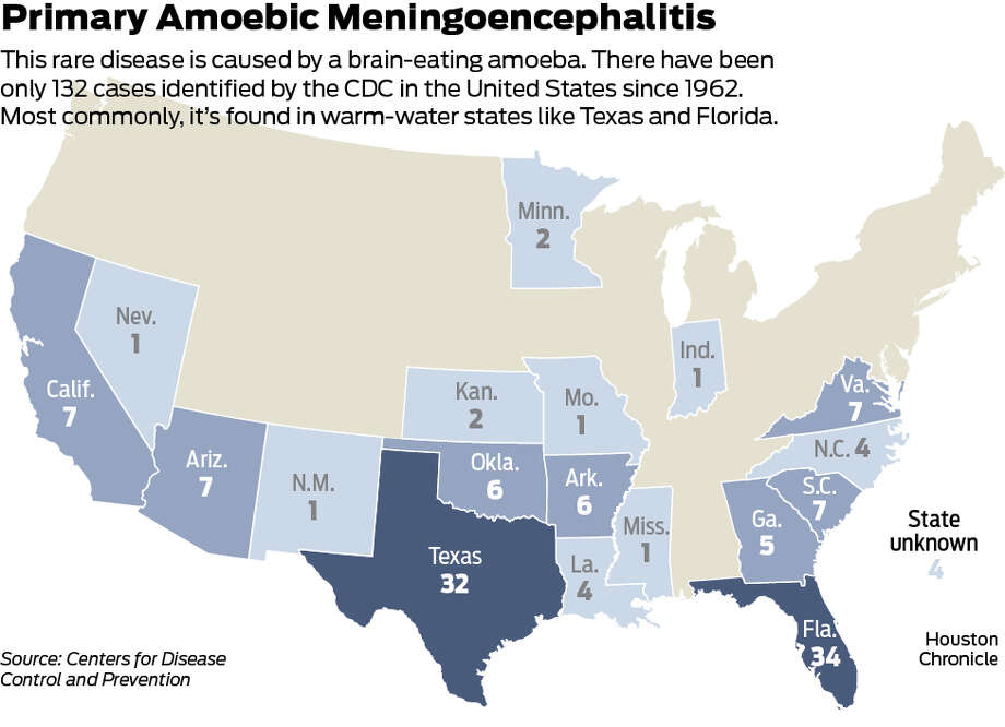 PHOTOS: Brain-eating amoeba dangers Map shows where brain-eating amoeba that causes Primary Amoebic Meningoencephalitis is found -- mostly commonly in Florida and Texas. >>>Instagram users celebrated the Central Texas water park in 2016 ...