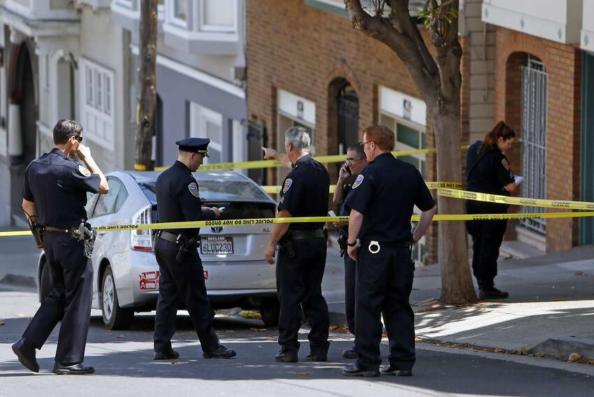 San francisco Police investigate at the scene of a shooting on Lombard Street east of Jones Street in San Francisco, Calif., on Tuesday, Aug. 25, 2015.